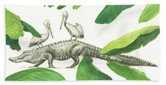Alligator With Pelicans Beach Towel by Juan Bosco