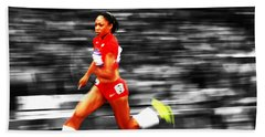 Allyson Felix In Warp Speed Beach Sheet by Brian Reaves