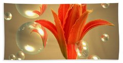 Beach Towel featuring the photograph Almost A Blossom In Bubbles by Joyce Dickens