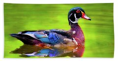 Beach Towel featuring the photograph Almost Perfect Wood Duck by Jean Noren