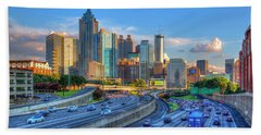 Beach Towel featuring the photograph Almost Sunset Atlanta Downtown Cityscape Art by Reid Callaway