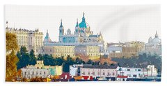 Almudena Cathedral And The Royal Palace Of Madrid Spain Beach Sheet