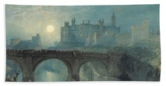 Alnwick Castle Beach Towel by Joseph Mallord William Turner