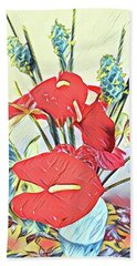 Aloha Bouquet Of The Day - Anthuriums And Green Ginger In Blue Beach Towel