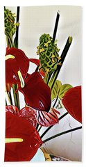 Aloha Bouquet Of The Day - Anthuriums In Darkl Red With Green Ginger - A Portion Beach Towel
