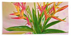 Aloha Bouquet Of The Day Halyconia And Birds In Pink Beach Towel