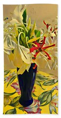 Aloha Bouquet Of The Day - White Gingert With Red Orchids - A New Hue Beach Towel