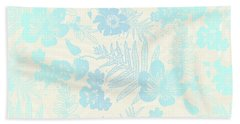 Aloha Damask Cream Aqua Beach Towel