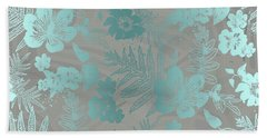 Aloha Damask Taupe Aqua Beach Towel