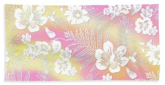Beach Towel featuring the digital art Aloha Lace Passion Guava Sorbet by Karen Dyson