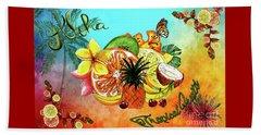 Beach Towel featuring the digital art Aloha Tropical Fruits By Kaye Menner by Kaye Menner