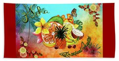 Beach Sheet featuring the digital art Aloha Tropical Fruits By Kaye Menner by Kaye Menner