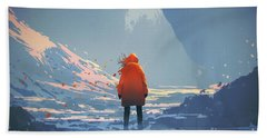 Alone In Winter Beach Towel