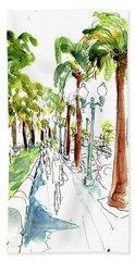 Along The Embarcadero At Justin Herman Plaza Beach Towel