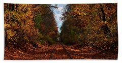 Along The Rails Beach Towel by Tricia Marchlik