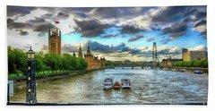 Along The Thames Beach Towel