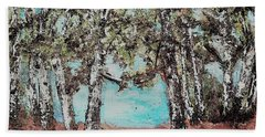 Along The Waters Edge Beach Towel by Rita Brown