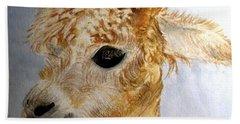 Beach Sheet featuring the painting Alpaca Cutie by Carol Grimes