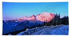 Alpenglow At Mt. Rainier Beach Towel