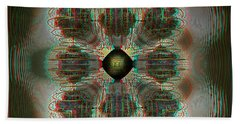 Alpha Waves - View With Red-cyan 3d Glasses Beach Towel