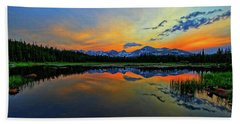 Beach Towel featuring the photograph Alpine Lake Glow by Scott Mahon