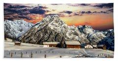Alpine Winter Scene Beach Towel