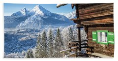 Alpine Winter Wonderland Beach Towel by JR Photography