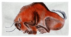 Altamira Prehistoric Bison At Rest Beach Towel