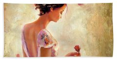 Beach Towel featuring the painting Always Flowers by Michael Rock