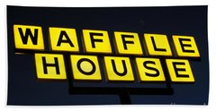 Always Open Waffle House Classic Signage Art  Beach Sheet