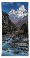 Ama Dablam In Nepal Beach Towel by Mike Reid