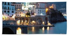 Amalfi Coast At Night Beach Towel