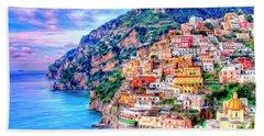Amalfi Coast At Positano Beach Towel