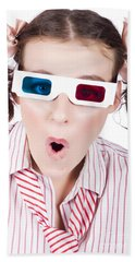 Amazed Woman Watching 3d Movie In Glasses Beach Towel