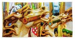 Amazing Carrousel Horses Beach Towel