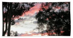 Amazing Clouds Black Trees Beach Towel