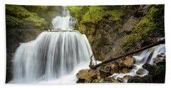 Amazing Mountain Waterfall Near Farchant Village At Garmisch Partenkirchen, Farchant, Bavaria, Germany. Beach Towel