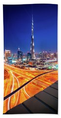 Amazing Night Dubai Downtown Skyline, Dubai, United Arab Emirates Beach Sheet