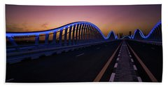 Amazing Night Dubai Vip Bridge With Beautiful Sunset. Private Ro Beach Sheet