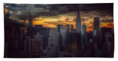 Amazing Skyline Of Manhattan - New York City Beach Sheet by Miriam Danar
