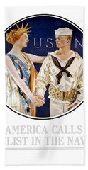 America Calls Enlist In The Navy Beach Towel