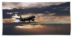 American Aircraft Landing At The Twilight. Miami. Fl. Usa Beach Towel