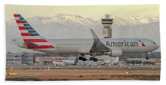 American Airline Boeing B767 Landing At Milano Malpensa Airport Beach Towel