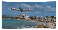 American Airlines Landing At St. Maarten Airport Beach Towel by David Gleeson