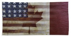 American And Canadian Flag Beach Towel