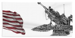 Beach Towel featuring the drawing American Artillery by Betsy Hackett