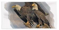 American Bald Eagle Pair Beach Towel