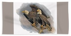 American Bald Eagle Pair Beach Sheet