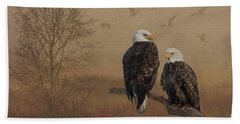 Beach Towel featuring the photograph American Bald Eagle Family by Patti Deters