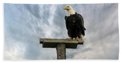 American Bald Eagle Perched On A Pole Beach Towel